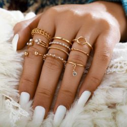 GEOMETRIC GOLD RINGS SET