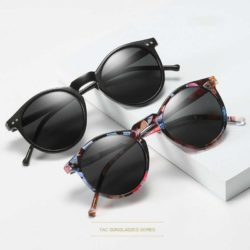 HELIOS POLARIZED RETRO ROUND SUNGLASSES