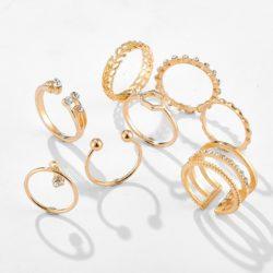 GEOMETRIC GOLD RINGS SET