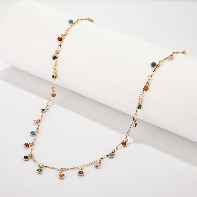 FASHION COLORFUL GOLD NECKLACE